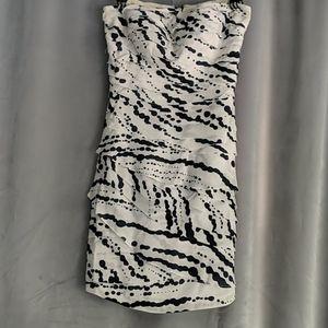 Strapless Inkblot Layered Dress